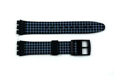 17mm Neon Blue Checkered PVC Replacement Watch Band Strap fits SWATCH watches