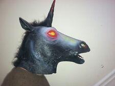 Evil Unicorn HorseMask Creepy HalloweenCostume Theater Prop Novelty Latex Rubber