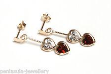 9ct Gold Garnet Heart Shaped Drop Dangly Earrings Made in UK Gift Boxed