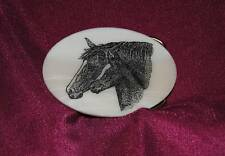 Horse - Mare & Foal - Etched Marble Western Belt Buckle