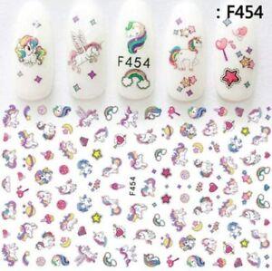 Unicorn rainbows hearts stars cupcakes art kids fake finger cute nail stickers