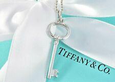 "Tiffany & Co Silver 1.5"" Oval Key Pendant 16.5"" Bead Necklace +Box Pouch Ribbon"