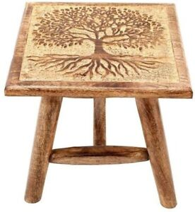 Wooden Stool - Tree of Life Hand Carved Stool - 25cm