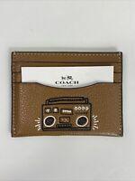 New Coach Card Holder Keith X Haring Radio Boom Box Brown Leather F87106   W14