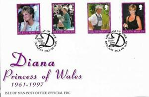 1998 ISLE OF MAN 🍁👑 PRINCESS DIANA - 4 STAMPS 👑 COMMEMORATIVE FDC 👑🍁