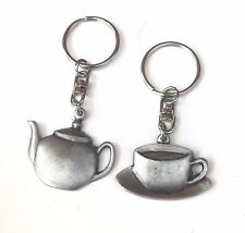 Tea Pot And Tea Cup Gift Set Handcrafted From English Pewter Key Rings