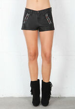 NWT WOMEN'S RAG & BONE/JEANS LAKSHMI SHORTS BLACK LEATHER #W1936L008 SZ:30 $429