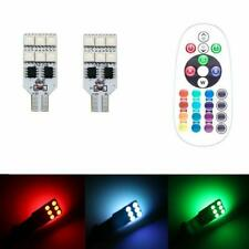 2x Car T10 5050 12 LED Remote Control RGB Wedge Dome Light Interior Reading Lamp
