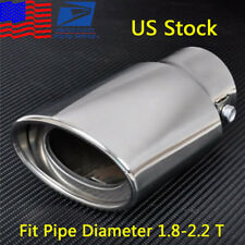 (US Stock) Chrome Round Car Exhaust Tail Muffler Tip Pipe Fit Diam For 1.8-2.2T