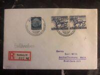1942 Hamburg Germany Registered Cover To Aschaffenburg