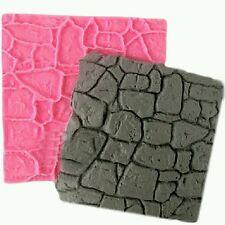 NEW Cobble Stone Wall Line Grain Silicone Impression Texture Mat Fondant Mould