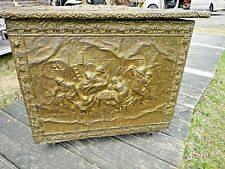Antique English Wood  brass Victorian Coal Box - Hod Box  MILITARY  primitive