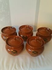 Vintages Glazed Clay Baking Stewing Stoneware Ramekin Cooking Pots (5) with Lids