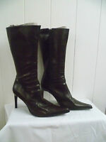 VERA GOMMA SIZE 38 UK5 LADIES DESIGNER BROWN LEATHER MID CALF BOOTS VGC