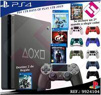 DAYS OF PLAY PS4 1TB 2019 PLAYSTATION 4 SEGUNDO MANDO A ELEGIR COLORES +4 JUEGOS