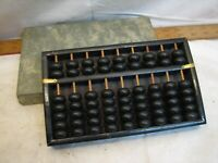 Wintage Wooden Abacus Made in Japan w/ Box Early Calculator Tool Math Desk Decor