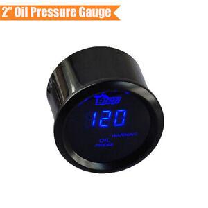"""2"""" Black Shell Car Digital Blue LED Oil Pressure Gauge with NPT 1/ 8 Sensor 1x"""