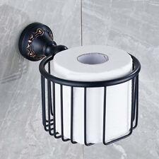 Black Brass Bathroom Toilet Roll Paper Holder Wall Mount Storage Tissue Rack