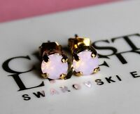 Gold Plated Rose Water Opal Stud Earrings made with Swarovski Crystal Elements