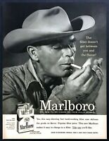 1955 Marlboro Man Cowboy Smoking photo Marlboro Cigarettes vintage print ad