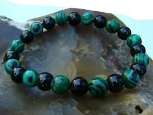 Gemstone ELASTIC beaded Bracelet 8mm GREEN GOLDSTONE, MALACHITE beads 7.5inch