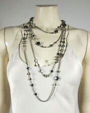 CHANEL Silver Gray Pearl Stars Layered Chain Necklace GIFT