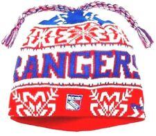 NEW YORK RANGERS Knit Beanie Hat Ski Cap Cuffless NHL Cool Breeze Tassel Toque