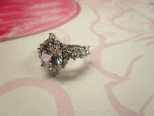 SILVER PLATED ENGAGEMENT RING WITH STONES ON SIDES CRYSTAL CZ SIZE 7 WOMEN