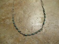 "18"" Delicate Older Vintage Zuni Sterling Silver Needlepoint Turquoise Necklace"