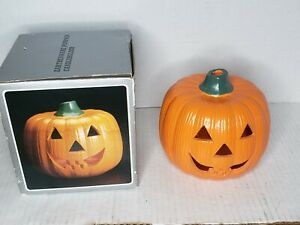 Vintage Earthenware Halloween Pumpkin Jack O'Lantern Ceramic Candle Holder