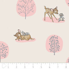 Disney Bambi Forest Scene Light Pink Camelot 100% cotton fabric by the yard