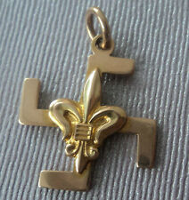 EARLY Boy Scout  9ct ROSE Gold Fylfot Thanks Badge -  c.1910