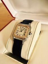 Genuine CARTIER Damas Para Hombre Panthere 18K oro diamantes en caja de reloj de gama alta