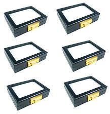 6 PCS OF TOP GLASS JEWELRY GEM DISPLAY BOX CASE GOLD LOCKER 8X10CM 3.1X3.9INCH