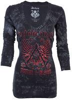 Archaic Affliction Womens L/S T-Shirt ACHILLES Wings BLACK Biker Sinful S-XL $58