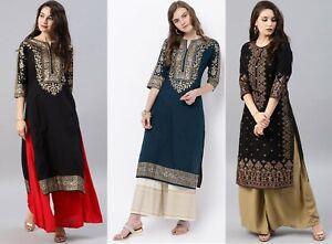 Indian Women New  BEAUTIFUL Style Dress Gold Foil Printed Cotton Kurta Kurtis