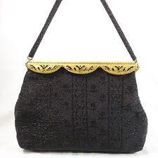 Vintage Enamel Brass Frame Micro Bead Black on Black Floral From France Handbag