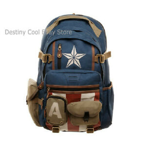 The Avengers Captain America Marvel Backpack School Shoulder Bag Travel Backpack