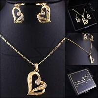 Schmuckset: Halskette+Ohrhänger *Herz*, Gelbgold pl., Swarovski Elements, +Etui