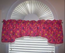 Valance With Matching Accessories Pink/Hearts Fringe Handmade NWOT