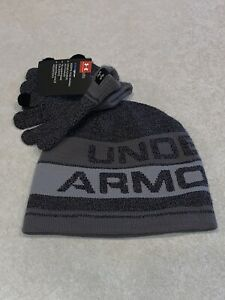 Under Armour Boys Youth Coldgear Knit Beanie Hat Gloves Set Gray NWT