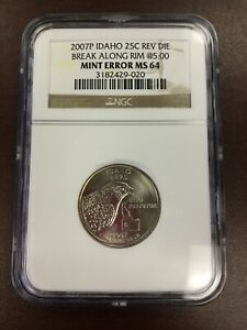 2007 P NGC Reverse Die Break Along Rim @5:00 Idaho State Quarter Mint Error MS64