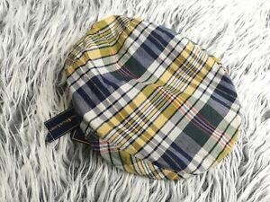 NEW VTG POLO by RALPH LAUREN BLUE YELLOW GREEN PLAID NEWSBOY CAP HAT L/XL /26