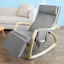 SoBuy® Grey Relax Rocking Chair with Adjustable Footrest Side Bag,FST18-DG,UK