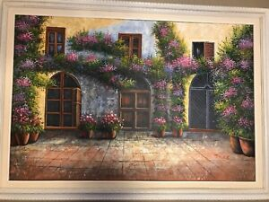 """BEAUTIFUL VINTAGE FLORAL VILLAGE STILL LIFE PAINTING, SIGNED TYLER 41"""" X 30"""""""