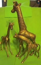 "Set of 3 Solid Brass Giraffe Figurines 12"" 7.5"" and 5.5"" Mom & 2 Babies"