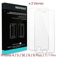 2 x Verre Trempé  iPhone 4 ★ 5 ★ 6 ★ 6 Plus ★ 7 ★ 7 Plus