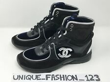 CHANEL TRAINERS SNEAKERS CC RUNNER US 9.5 8 UK 7 41 BLACK BLUE SILVER HI TOP