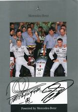 More details for hakkinen, coulthard 1998 mercedes card. (pre print signature)