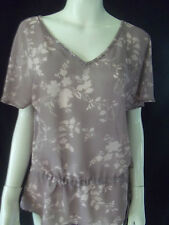 SUSSAN Womens short sleeve Dusty Pink sheer top size 12